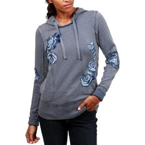 Lucky Brand Floral Hoodie Embroidered Sweatshirt